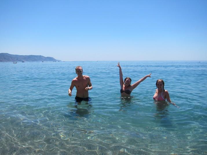 Vi har badat i det underbara vattnet.